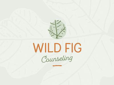 Work In Progress Logo Concept work in process counseling wild stem leaf green orange logo fig