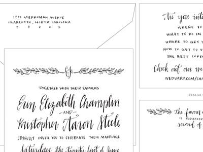 Custom Hand Lettered Wedding Invitation Suite custom wedding floral letters calligraphy organic north carolina summer wedding