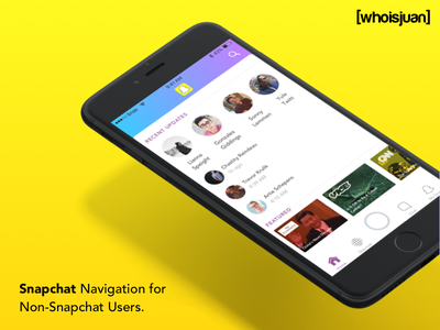Snapchat Navigation for Non-Snapchat Users. user-experience yellow snap mobile-ux ux ui mobile duotone gradient tab bar navigation snapchat