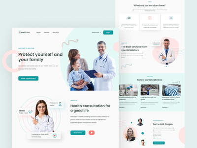 WellCare Health Consultation - Homepage homepage clean blue trend ux ui medical healthcare health design web branding uiux