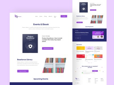 BASELANCE-Events & Ebook Page uiux ui ux trend template design typography vector purple branding website business webdesign clean