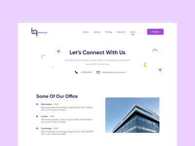 BASELANCE-Contact Us Page uiux ui ux project header template vector typography purple trend design branding website business webdesign clean