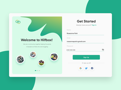 Daily UI #001 - Hilfbox Sign Up Page ui ux uidesign 001 challenge dailyuichallenge dailyui daily login sign in sign up form comunity green minimalist design web trend clean