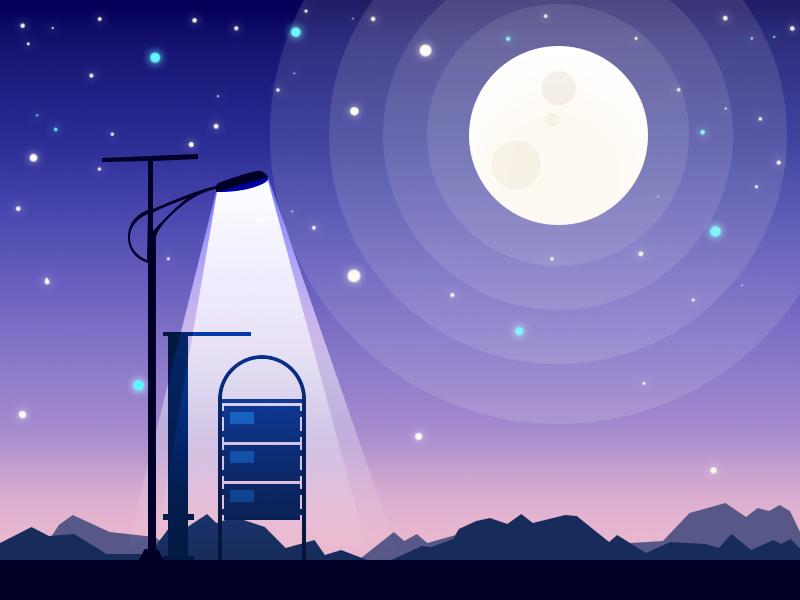 Lonely bus station night illustration