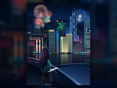 Hope harbour victoria girl ship firework illustration hongkong