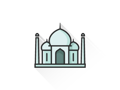 Taj Mahal web icon taj mahal travel icon illustration flat agra india showplace