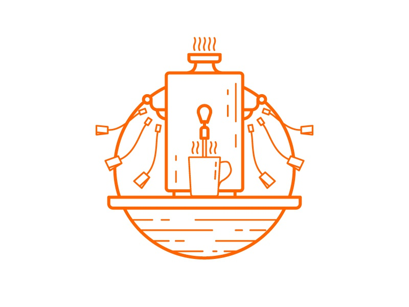 Tea bar totem drink hot samovar outline stroke orange icon illustration bar tea