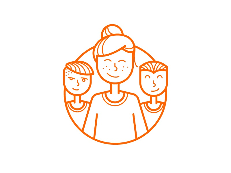 Useful events event outline stroke orange smile illustration icon girl boy people