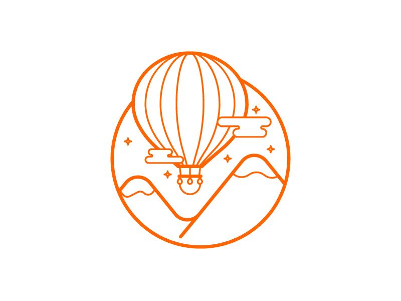 Tourism  outline stroke orange illustration icon landscape mountains ballon tourism