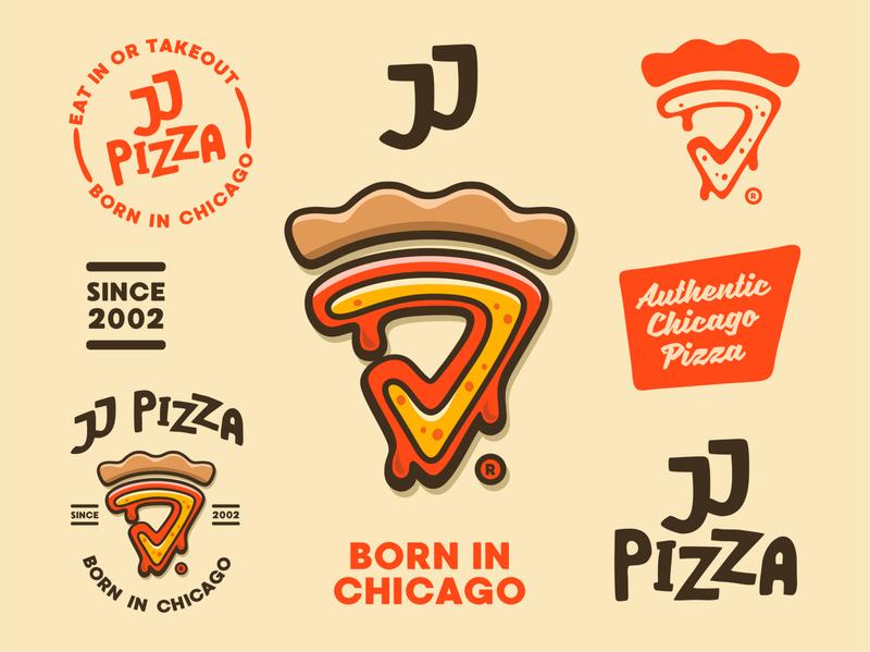 JJ Pizza Logo pizza typography illustration vector minimal logodesign logo icon graphicdesign design branding