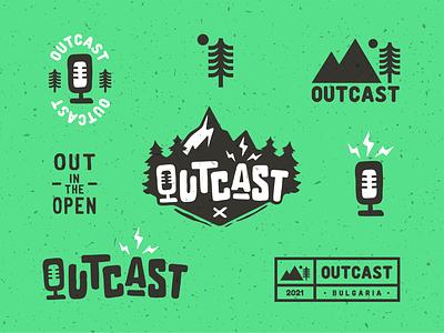 Outcast Podcast Logo Set badge vector minimal podcast illustration logodesign graphicdesign design branding logo