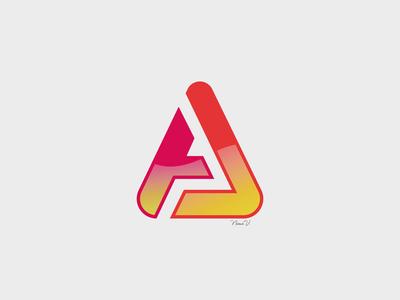 LOGO AJ gradiant orange pink abstract aj icon vector logo design
