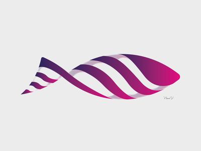 Fish animal fish vector purple pink logo gradiant design abstract
