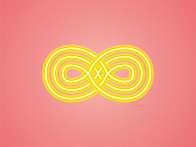 VERS L'INFINI neon infinity illustration orange vector pink design logo abstract