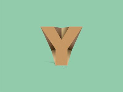 Y PAPER papercraft green wood wood effect illustrator logo design illustration gradiant vector paper abstract