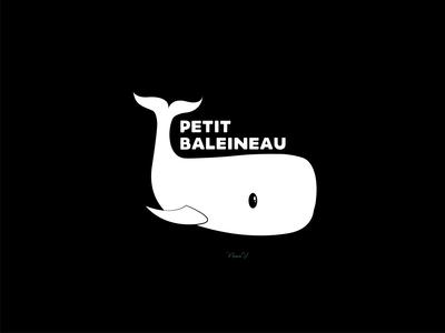 PETIT BALEINEAU minimalist design vector logo black  white baleine animal whale