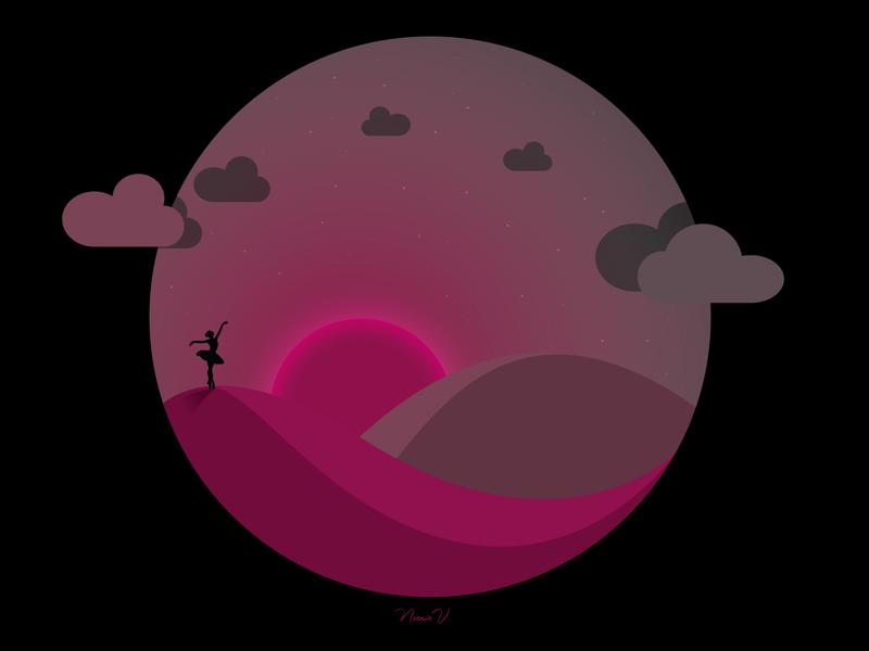 DANCE IN THE DESERT travel lonely poesie art moonlight moon sunset sun desert stars sky dancing illustration art dancer illustrator illustration pink vector design