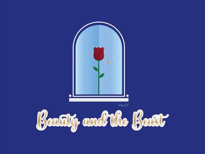 BEAUTY AND THE BEAST disney princess beauty and the beast art vector gradiant illustration illustrator disney logo design