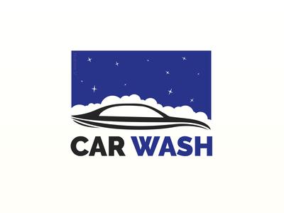 CAR WASH 2.0 night sky black blue stars washing wash car wash car vector illustration logo design