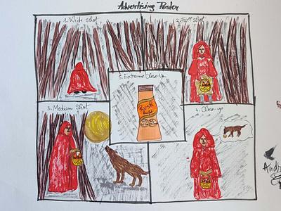 "Advertising poster "" Red Riding Hood"" illustrator design brief artwork illustration art photoshop illustration creative design graphic design ilustration design"