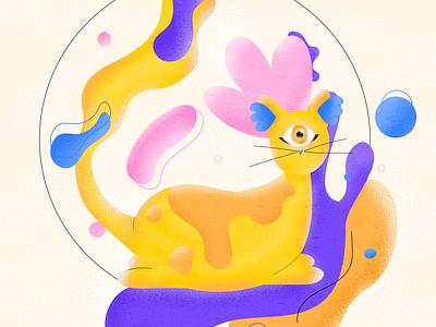 One eyed cat photoshop illustrator character animation artwork artist draw art illustration