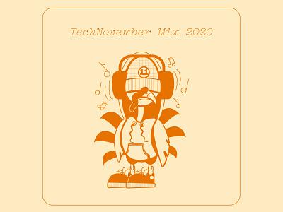 TECHNOvember Mix 2020 techno music november thanksgiving turkey mixtape cover albumcover albumart coverart mixtape mix illustration design