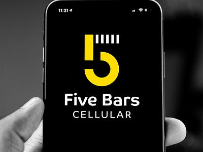 5 Bars Cellular Logo logo design cellular cell phone identity design design brand identity design logos logo brand identity