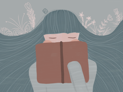 Bookworm flat bookworm girl design illustration