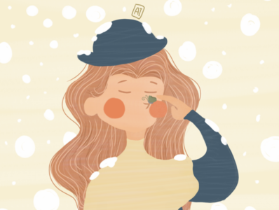 Snowfall drawingart girl flat design illustration