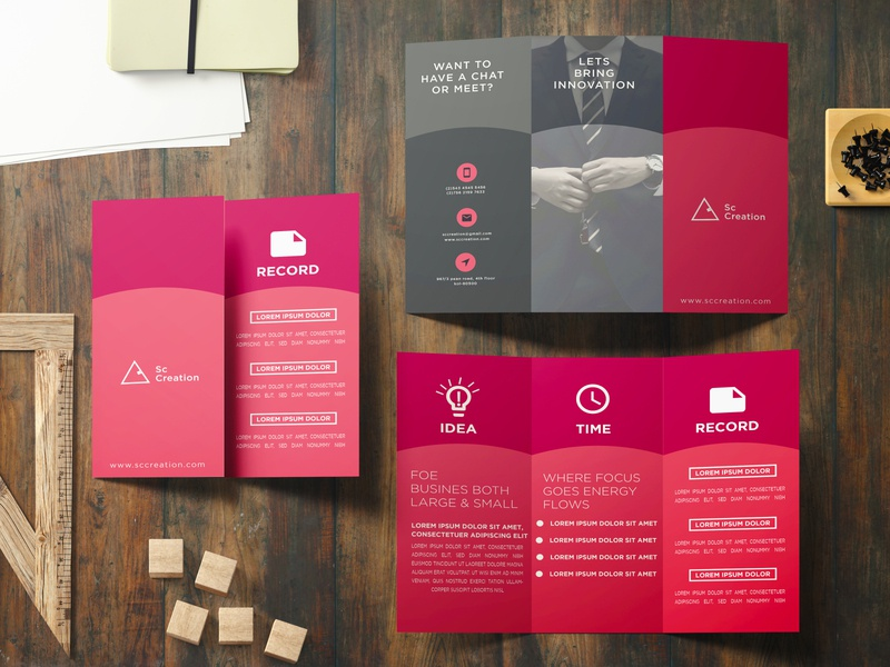 Trifold Brochure Design print design print branding concept black pink red meetings minimal design trifold mockup trifold template elegant catalogue catalog branding design business brochure branding and identity branding