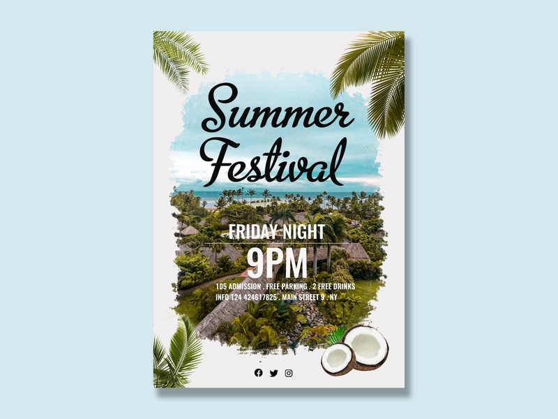 Summer Festival Poster flyer design poster design summer flyer adobe photoshop flat photoshop minimal design