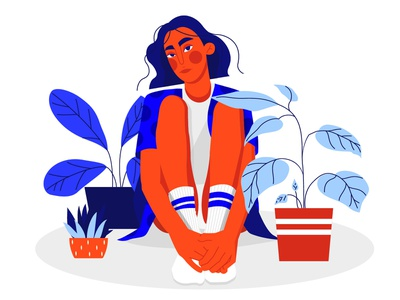 "Illustration ""girl with houseplants"" vector illustration vector art girl plants adobe illustrator poster vector illustration design"