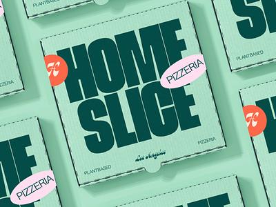 Homeslice – Plantbased Pizzeria plantbased vegan pizza typography type logo packaging pizzeria brand identity design vector logo design branding design branding