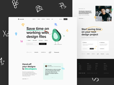 Avocode Homepage grid typography footer cta testimonial header illustration drawing doodle quote hero clean