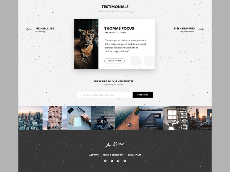 Testimonials section, instagram feed and footer design pattern social quotes card email input subscribe feed slovakia footer instagram testimonials