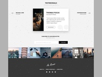 Testimonials section, instagram feed and footer design