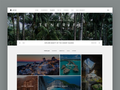 Travel Portal Homepage traveling holiday vacation tenerife slovakia portal travel clean minimal landing