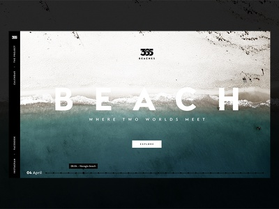 365 Beaches - Homepage side-menu timeline slovakia minimal clean typography image header beach homepage travel