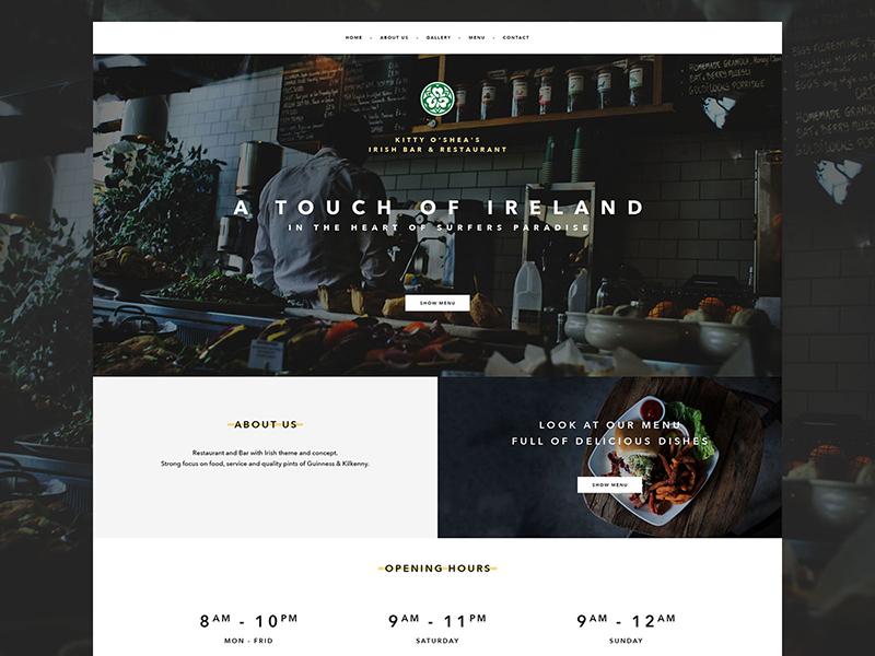 Irish Bar & Restaurant - landing design menu about us opening hours hero image hero landing slovakia webpage clean food bar