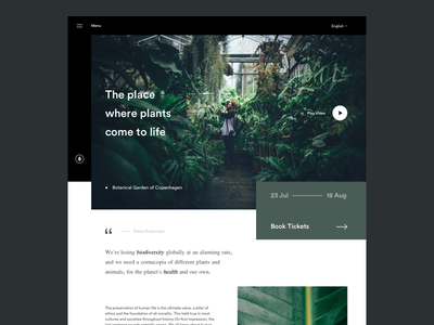 Botanical Homepage - UI Exercise header clean play video ui design images hero title quote text