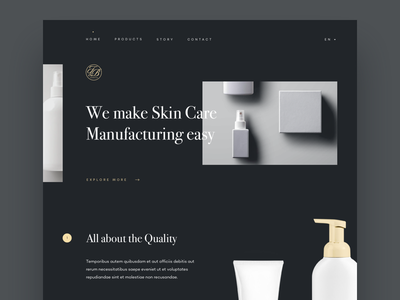 Skin Care  Manufacturing - Homepage website ux sketch typography minimal dark clean grid parallax about us about ui