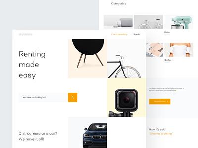 Renting Website - Homepage images ux ui header search title hero grid categories clean homepage