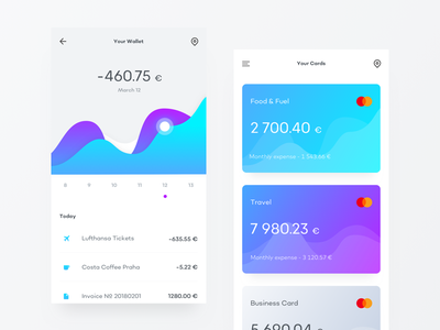 Banking App UI Exploration calendar transactions money bank cards card graph banking gradient clean ui app