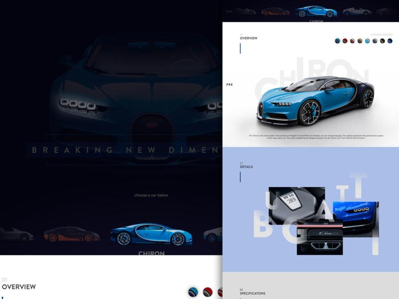 Bugatti Chiron Re-design concept car interface website design web design chiron bugatti website logo fashion design design