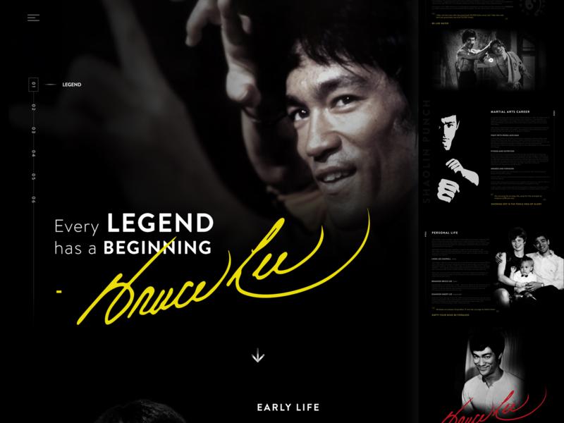 Every Legend has a Beginning - Bruce Lee Bio ux webdesign bio brucelee fashion design dailyui ui website design