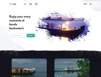 Papership - Kerala backwaters booking website colorsplash ink water design splash design concept website concept backwaters kerela fashion design branding webdesign design website dailyui illustration