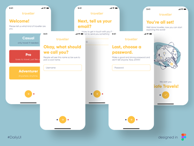 traveller - Travel App | Daily UI Challenge 001 travel app sign up signup mobile app design ui design uidesign ui dailyuichallenge dailyui 001 daily ui dailyui