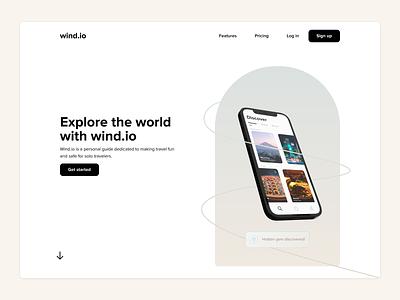wind io modern simple clean hidden gem wind.io japan mobile app figma landingpage solo travel fun travel