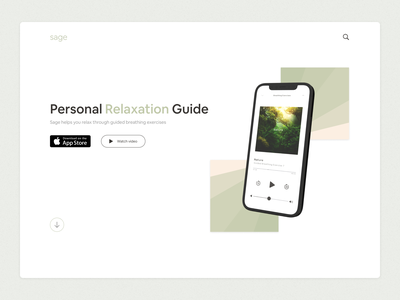 sage sage mindfulness landing page mobile app relaxation