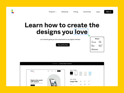 Lufi inspiration text style color style fun design tool lufi whyte design system webstie uidesign figma design landing page
